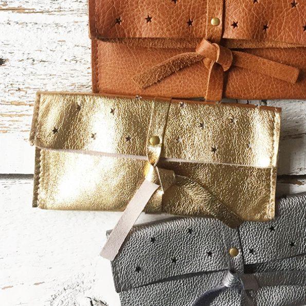 Jee Bags, leer, DIPLA, clutch, gold