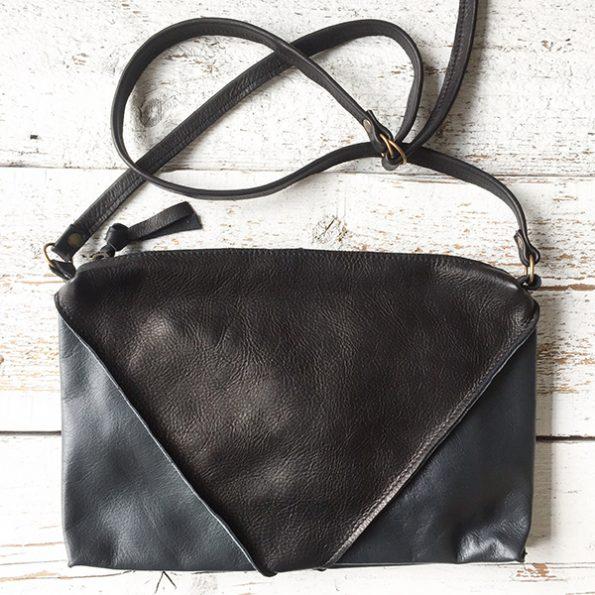 Jee Bags, leather, handbag, black, grey